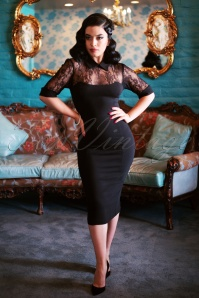 50s Wednesday Lace Pencil Dress in Black