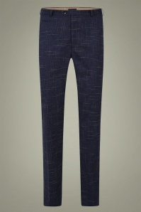 Collectif 31567 Bobbie Crosshatch Trousers in Blue 20191009 021LW