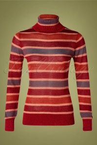 60s Tova Striped Quirky Turtleneck Top in Red
