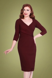 50s Katherine Polkadot Pencil Dress in Burgundy