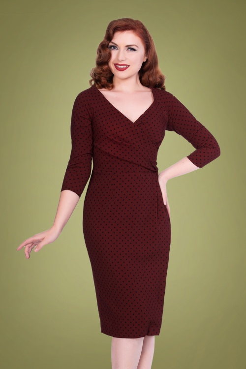 Sheen 30964 Katherine St Dress in Burgundy Spot 20190722 020LW