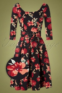 TopVintage exclusive ~ 50s Jiya Randa Floral Swing Dress in Black