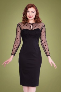 50s Katniss Polka Pencil Dress in Black
