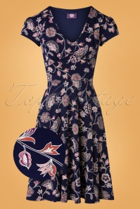 Topvintage Boutique 31176 Blue Floral Swing20191009 004 Z