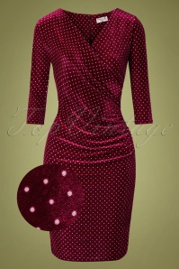 Vintage Chic for TopVintage 50s Corynne Polkadot Pencil Dress in Wine