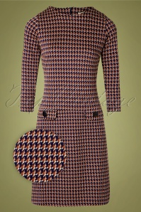 Mademoiselle YéYé 60s Nine To Five Houndstooth Dress in Navy Rust Cream