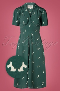 The Seamstress of Bloomsbury 40s Delores Dog Swing Dress in Green