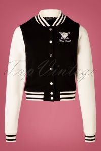 Queen Kerosin 50s College Jacket in Black and White