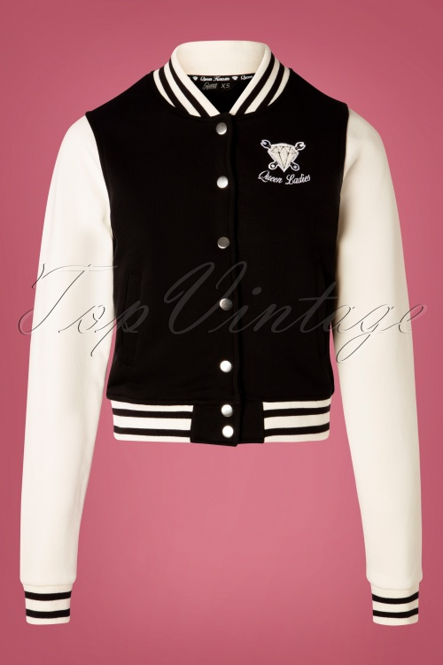 Queen Kerosin 30175 College Jacket in Black 20191007 003W