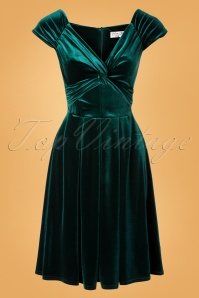 50s Trissie Twisted Velvet Swing Dress in Green