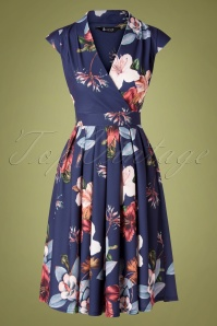 Lady V by Lady Vintage 50s Eva Floral Swing Dress in Navy