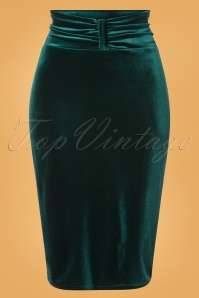 Vintage Chic for TopVintage 50s Michelle Velvet Pencil Skirt in Bottle Green