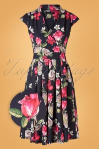 50s Eva Romeo Rose Swing Dress in Black