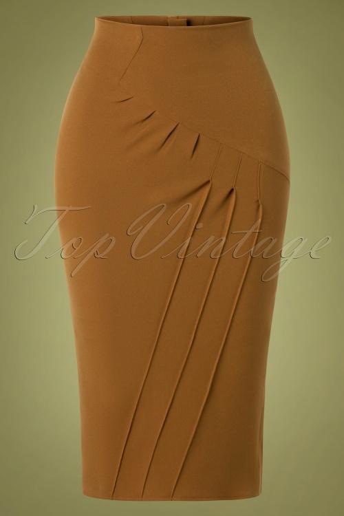 Miss Candyfloss 31010 Pencilskirt Brown 10102019 002W