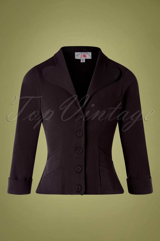 Vintage Coats & Jackets   Retro Coats and Jackets TopVintage exclusive  50s Tove Blazer Jacket in Black £72.69 AT vintagedancer.com