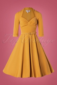 Miss Candyfloss 31026 Swingdress Mustard 10102019 002W