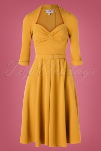 Naila Bombshell Swing Dress Années 50 en Jaune Moutarde