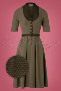 Miss Candyfloss 40s Judith Houndstooth Swing Dress in Khaki Green
