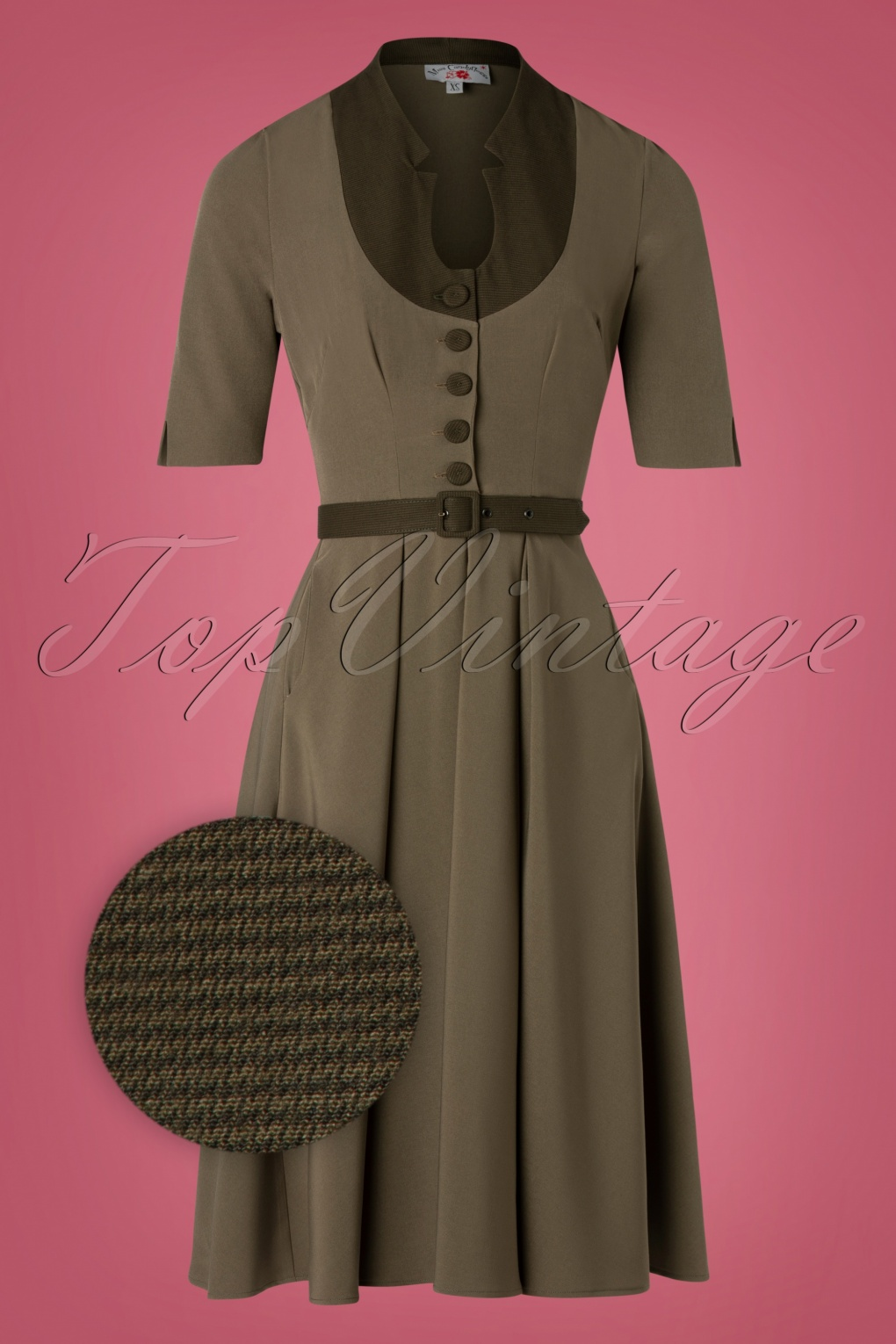 Swing Dance Dresses | Lindy Hop Dresses & Clothing 40s Judith Houndstooth Swing Dress in Khaki Green £95.01 AT vintagedancer.com