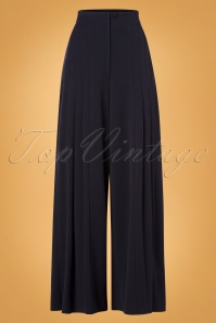 Miss Candyfloss 40s Alouette Lee Couture High Waist Trousers in Navy