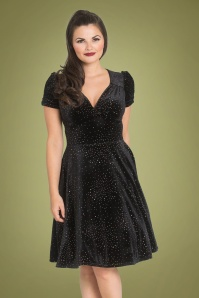 Bunny 50s Glitterbelle Swing Dress in Black