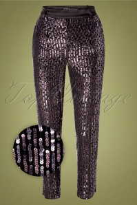 Little Mistress 70s Tibbie Sequin Trousers in Black