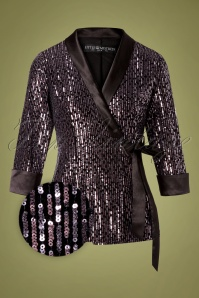 Little Mistress 70s Tibbie Sequin Blazer in Black