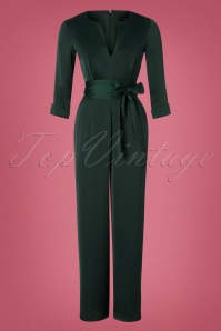 60s Mindy Jumpsuit in Petrol Green