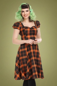 Mimi Pumpkin Check Doll Dress Années 50 en Noir et Orange