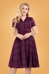 50s Caterina Check Swing Dress in Wine