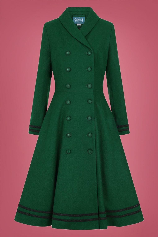 Vintage Inspired Dresses & Clothing UK 50s Marina Swing Coat in Emerald Green £157.04 AT vintagedancer.com