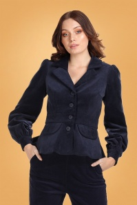 Collectif Clothing 70s Brianna Suit Jacket in Navy Corduroy