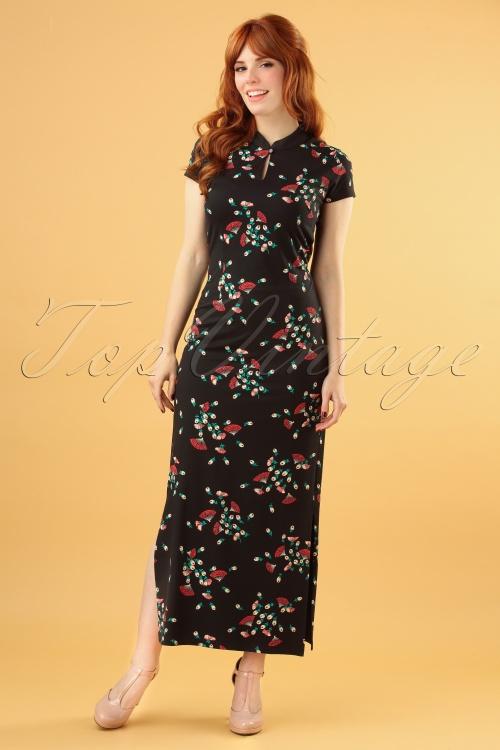 King Louie 29437 Chinese Dress Maxi Matcha Black20190624 040MW