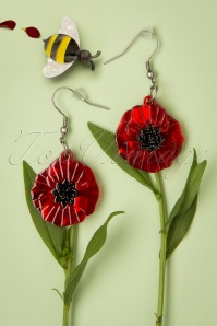 Erstwilder Poppy Field Drop Earrings Années 60 en Rouge