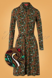 Wow To Go! 60s Stef Swan Dress in Khaki Brown