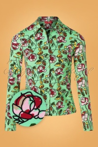 Wow To Go! 60s Daisy Brussels Blouse in Mint