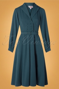 50s Mabel Kat Swing Dress in Teal