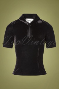 Tatyana 50s Key Note Velvet Top in Black