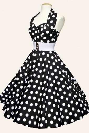 Populair 50s Retro halter Polka Dot Black White swing dress cotton sateen &SE82