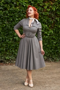 50s Leontine Swing Dress in Grey