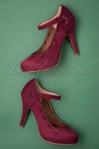 Bettie Page Shoes Yvette Suedine Mary Jane Pumps Années 50 en Bordeaux