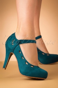 Bettie Page Shoes Yvette Suedine Mary Jane Pumps Années 50 en Bleu