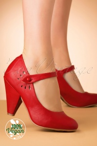 Bettie Page Shoes Allie Mary Jane Pumps Années 50 en Rouge