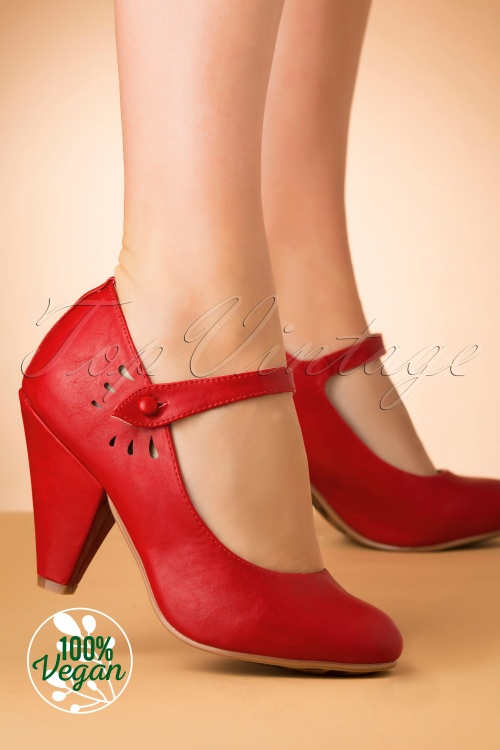 Bettie Page 29733 Allie Mary Jane Shoes Red 20191010 003 Vegan