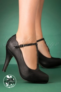 50s Virginia T-Strap Pumps in Black