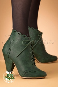 Bettie Page Shoes 50s Eddie Lace Up Booties in Green