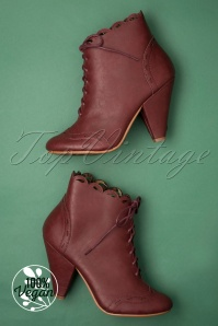 Bettie Page Shoes 50s Eddie Lace Up Booties in Burgundy