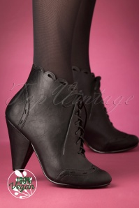 Bettie Page Shoes 50s Eddie Lace Up Booties in Black