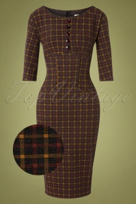Caroline Pencil Dress Années 40 en Plaid