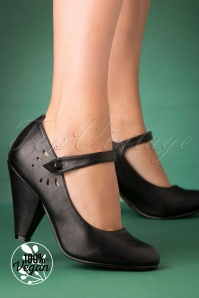 Bettie Page Shoes Allie Mary Jane Pumps Années 50 en Noir